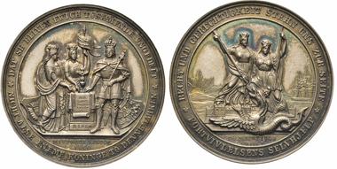 Los 192: Schleswig-Holstein, Friedrich VII., 1848-1868. Silbermedaille 1848 auf den Beginn der Aufruhr am 24.3.1848 (Märzrevolution). Lange 181a. Bergsoe 202.
