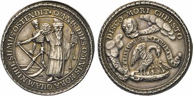 Los 1206: Münzförmige Silbermedaille o.J. auf die Vergänglichkeit des menschlichen Lebens. Slg. Brettauer 5018.