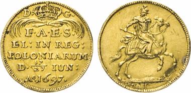 Los 1529: Polen. August II., der Starke, 1697ñ1733. Dukat 1697. Auf seine Wahl zum König von Polen. Fb. 2827 (unter Sachsen). Kahnt 241. Slg. Merseb. 1389.