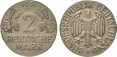 Los 2122: BRD. 2 Mark 1951 F. J. 386. Auf 1-DM-Schrötling (J. 385) geprägt.