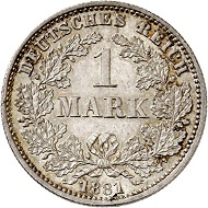 Lot 309: 1 mark 1881 G. Fine patina. FDC. Estimate: 7,500 euros. Hammer price 13,000 euros.