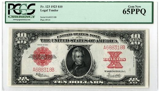 "Lot 832: Washington, D.C. U.S. Legal Tender. $10, 1923, Fr.123, ""Poker Chip"" High Grade Rarity. Estimate: 17,500-22,500 USD."