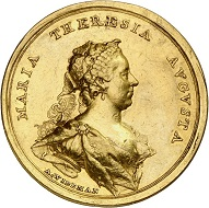 Maria Theresa. Gold medal at 10 ducats 1741 by A. Widemann on occasion of her coronation as Queen of Hungary in Bratislava. Very fine +. Estimate: 4,000 euros. From Künker sale 294 (28/29 June 2017), No 3421.