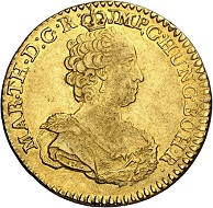 After the end of the Spanish War of Succession, the Spanish Netherlands had gone to Austria. As a result, there are coins of Maria Theresa from Antwerp (mint mark: hand) and Brussels (mint mark: angel's head): Maria Theresa. 2 Souverain d'or 1762, Brussels. Very fine / Very fine to extremely fine. Estimate: 600 euros. From Künker sale 294 (28/29 June 2017), No 3426.))