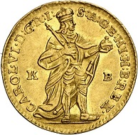The coins of her father were the models for Maria Theresa's first emissions: Charles VI. Ducat 1738, Kremnica. From Künker sale 294 (28/29 June 2017), No 3420.