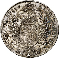 Maria Theresa. Reichstaler 1751, Hall. Almost extremely fine. Estimate: 150 euros. From Künker sale 293 (27/28 June 2017), No 1628.