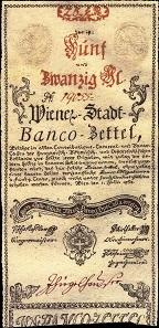 Bancozettel im Wert von 25 Gulden des Wiener Stadt-Banco.