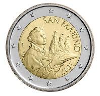 San Marino's new 2 euro and 1 euro coin.