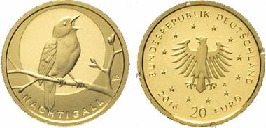 """Auch die goldene 20 Euro-Gedenkmünze """";Nachtigall"""" von 2016 erfüllt die Bedingungen für die Befreiung von der Umsatzsteuer."""
