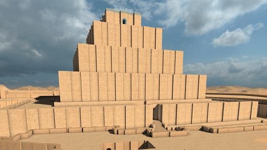Und so sehen Besucher die Rekonstruktion des Zikkurat, Tschogha Zanbil in einem Ausstellungsvideo.