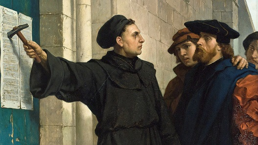 Luther posts his 95 theses to the church door of Wittenberg. Historic painting by Ferdinand Pauweis (1830-1904).