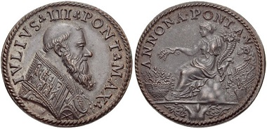 Illustrative in this respect is this bronze medal which places pope IVLIVS III PONTIFEX MAXIMVS in the tradition of the ancient Roman emperors; the reverse bears the legend ANNONA PONT A V combined with a Roman style reference to the goddess Ceres. Image from Classical Numismatic Group, Inc., e-auction 210.369.