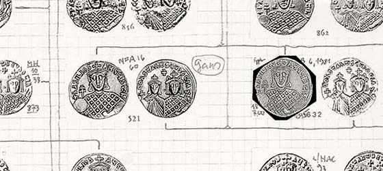Fig. 2: Detail from the die scheme the scholar had made for the gold coinage of Basil I.