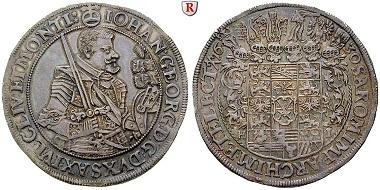 Altdeutschland. Sachsen, Albertinische Linie. Johann Georg I, 1615-1656. Reichstaler 1630. Dresden HI. Vorzüglich. 1.200 EUR.