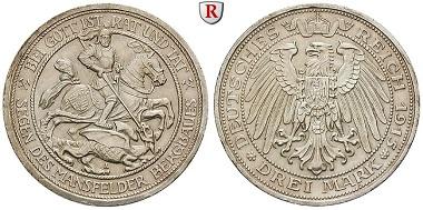 Deutsches Kaiserreich. Preußen. Wilhelm II., 1888-1918. 3 Mark 1915. A. Vorzüglich+. 720 EUR.