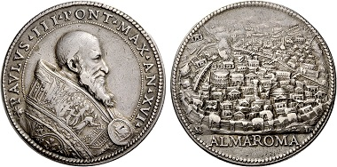 Paul III (1534-1549). Silver medal no date (1550) on the Holy Year. From Nomos sale 5 (2011), 25.