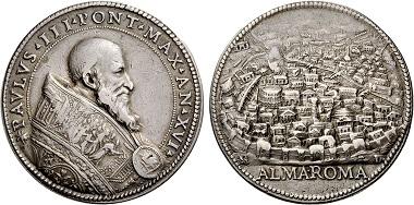 Paul III. (1534-1549). Silbermedaille o. J. (1550) auf das Heilige Jahr. Aus Auktion Nomos 5 (2011), 25.