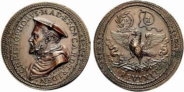 Christoforo Madruzzo. Medaille von Laurentius Parmensius. Aus Auktion Rauch (Sommerauktion 2010), 2206.