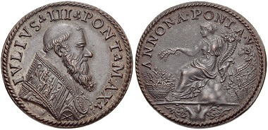 Julius III. (1550-1555). Medaille 1554/5. Aus Auktion Classical Numismatic Group Electronic Auction 210 (2009), 369.