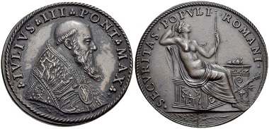 Julius III. (1550-1555). Medaille. Aus Auktion Classical Numismatic Group Electronic Auction 210 (2009), 370.