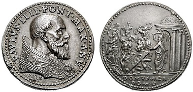 Paul IV (1555-1559). 19th century restitution medal modeled on a 1559 medal by Gianfederico Bonzagni from 1559. Rv. Jesus expels the traders from the temple. From Rauch sale 89 (2011), 2814.