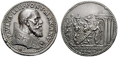 Paul IV. (1555-1559). Restitutionsmedaille des 19. Jh. nach einer Medaille von Gianfederico Bonzagni von 1559. Rv. Jesus jagt die Händler aus dem Tempel. Aus Auktion Rauch 89 (2011), 2814.