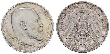 Los 754: Kaiserreich Silbermünzen, Württemberg. Wilhelm II. 1891-1918. 3 M, 1916. Regierungsjubiläum. Ausruf: 4.000 Euro.