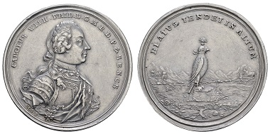 Los 1200: Brandenburg-Ansbach, Karl Wilhelm Friedrich, selbständig, 1729-1757. Taler o.J. (um 1753), sogenannter 1. Falkentaler. Ausruf: 4.250 Euro.