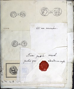 Some of the drawings bound in at the end of Frölich's and Khell's correspondence, with notes by Eckhel. Photo: copyright Kunsthistorisches Museum, Vienna.