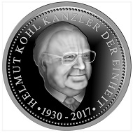 """Helmut Kohl"" / .333 Silber / 32,5 mm / Design: Stefanie Lindner."