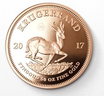 The flagship of the anniversary range: the 50-ounce Krugerrand gold coin (reverse).