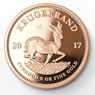 The 5-ounce Krugerrand in gold (reverse).