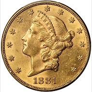 Lot 11470: 1881 Liberty Head Double Eagle. AU-58 (PCGS). Realized: $88,125.