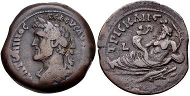 Lot 330: Egypt, Alexandria. Antoninus Pius, AD 138-161. Drachm, RY 13 (AD 149/150). Ex Robert L. Grover Collection. VF. Estimate: $100.