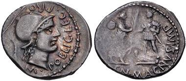 Lot 415: Cnaeus Pompey Jr. Denarius, Summer 46-Spring 45 BC, Corduba mint. From the Archer M. Huntington Collection. VF. Estimate: $300.