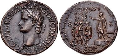"Lot 651. Gaius (Caligula). AD 37-41. Bronze Cast ""Sestertius"". Paduan type. Later cast after Giovanni da Cavino, 1500-1570. Good VF. Estimate $100."