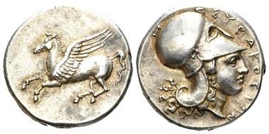 Lot 42: Sicily, Syracuse. Corinthian stater, circa 334-317. Extremely Fine. Starting bid: £650.
