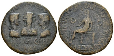 Lot 133: Bithynia, Apamea Drusilla, Julia and Agrippina, sisters of Caligula. Bronze, circa 38. About Very Fine. From the E.E. Clain-Stefanelli collection. Starting bid: £900.