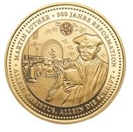 """Jubiläumsthaler """"500 Jahre Reformation"""" / Gold .999 / 1 Unze / 38,5 mm / Auflage: 200."""