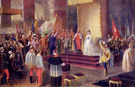 Coronation of Emperor Franz Joseph and Empress Elisabeth of Austria as King and Queen of Hungary, on June 8, 1867, in Buda, the capital city of Hungary.