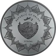 Palau / 10 Dollars / Silver .999 / 2 oz / 38.61 mm / Mintage: 888.