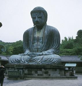A huge statue of Buddha Daibutsu in Kamakura, Japan.