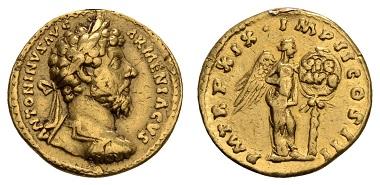 Los 7: Antike, Römer, Marcus Aurelius, 161-180. Aureus, 164, Rom. ss. Ausruf: 1.500 Euro, Zuschlag: 3.200 Euro.