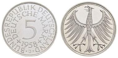 Los 1557: Deutschland, Bundesrepublik (DM), 5 DM Kursmünze 1958 J. PP. Ausruf: 10.000 Euro, Zuschlag: 14.500 Euro.