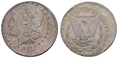 Los 2124: USA, Republik 1 $ 1884. New Orleans. Ausruf: 100 Euro, Zuschlag: 8.000 Euro.