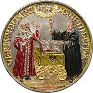 Christian Maler, Kurfürst Johann Georg I. von Sachsen, Medaille auf die erste Säkularfeier der Reformation, 1617, Silber, koloriert. © SKD. Foto: Kathleen Dittrich.