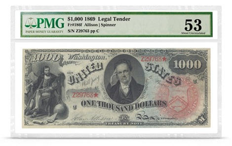 An 1869 $1,000 Rainbow note in private hands (graded PMG AU 53.