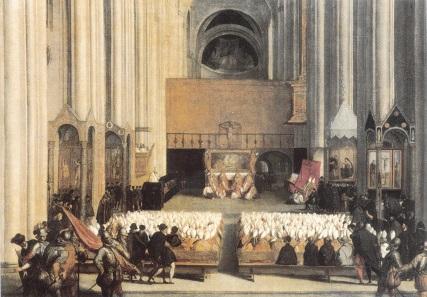 Sitzung des Konzils von Trient 1563. Gemälde von Paolo Farinatis(?), 2. Hälfte des 16. Jh. Quelle: Wikipedia.
