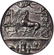 Sicily. Syracuse. Dionysios I, 406-367 B.C. Decadrachm, ca. 405-390 B.C. NGC AU, Strike: 4/5 Surface: 3/5. Fine Style.
