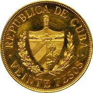 Cuba. 20 Pesos, 1915. Philadelphia Mint. PCGS PROOF-63 CAMEO Secure Holder.